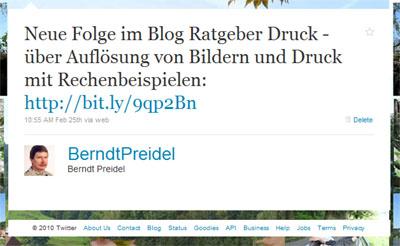Tweet über Bildauflösung und Druck