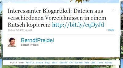 Tweet Dateien von verschiedenen Verzeichnissen kopieren