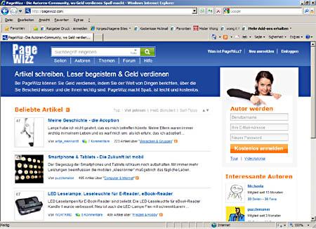 Die Startseite des Autorenportals PageWizz